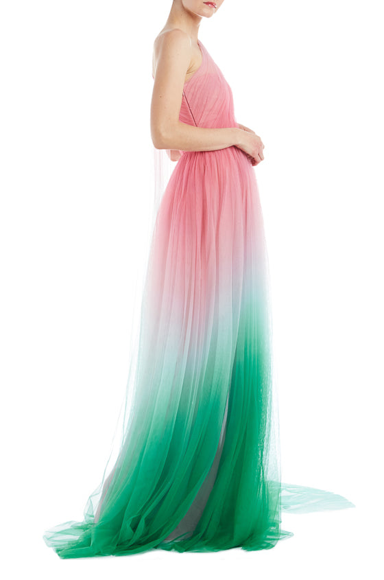 Monique Lhuillier Tulle Gown Pink and Green