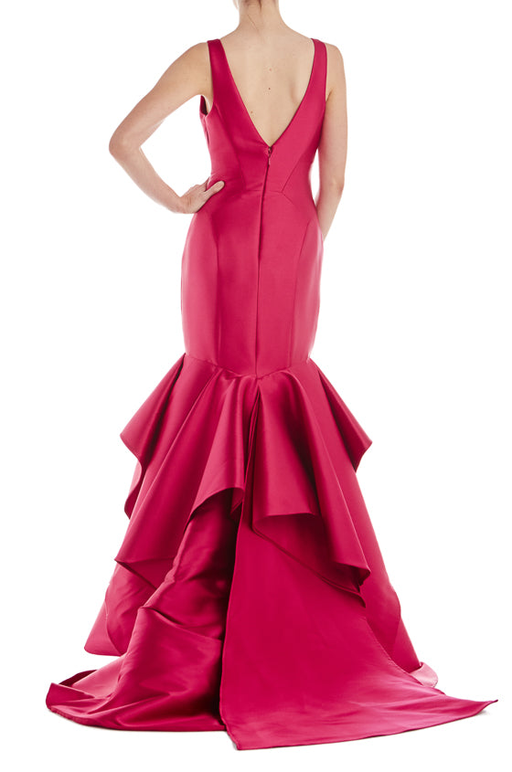 V-Neck Mikado Trumpet Gown- FINAL SALE