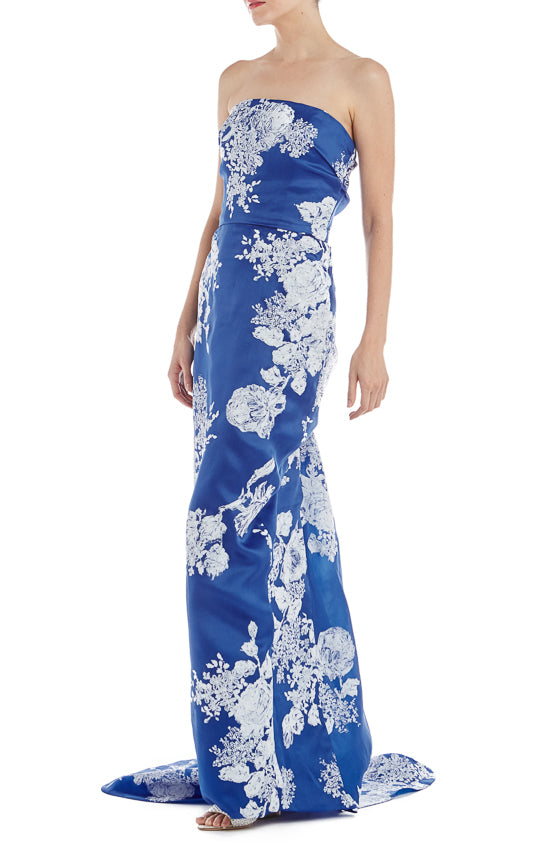 Strapless Printed Column Gown
