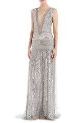 Silver beaded evening gown