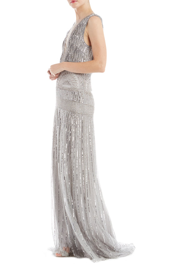 Monique Lhuillier V Neck Gown