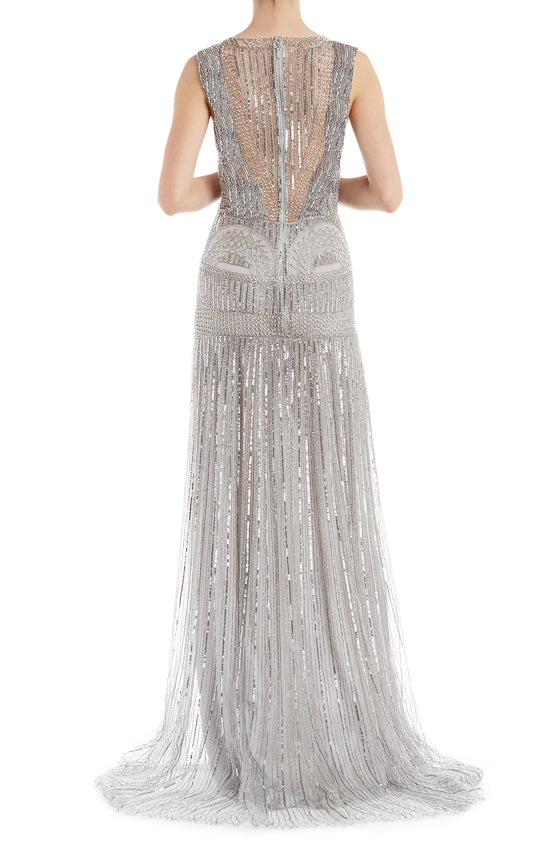 Beaded Silver RTW Gown ML