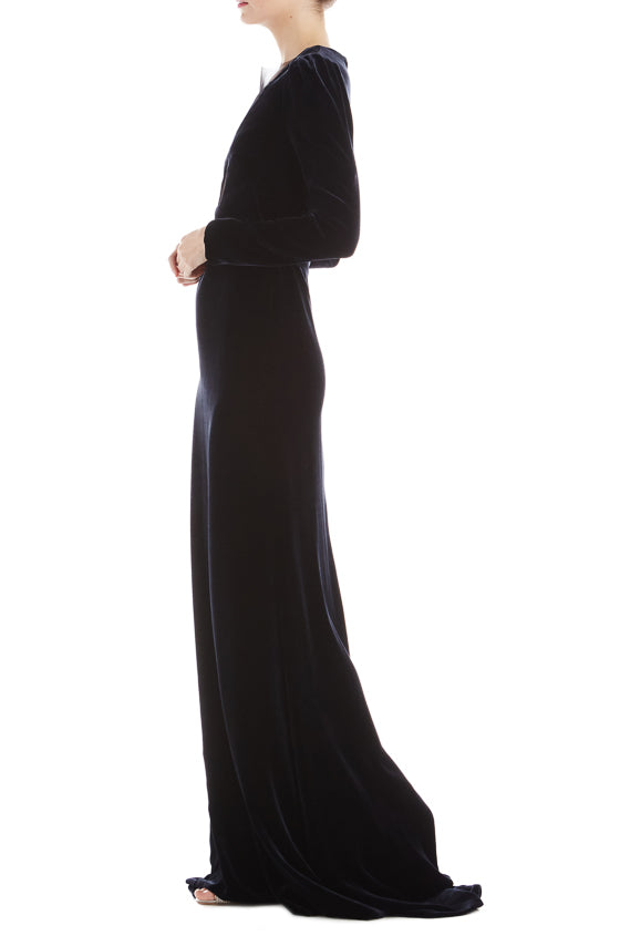 Long Sleeve Velvet Gown- FINAL SALE