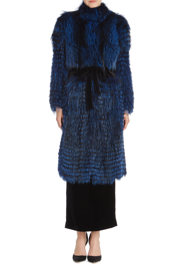 Blue mink and fox fur jacket Monique Lhuillier