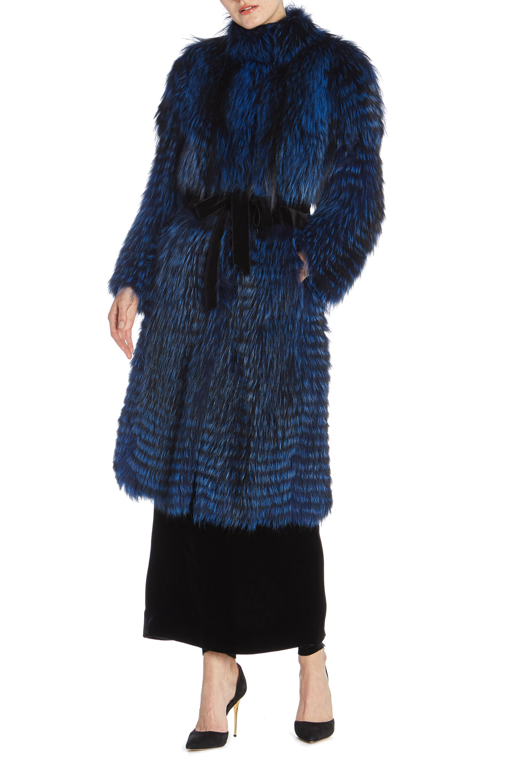 Cobalt fox and mink fur coat
