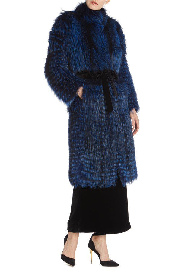 Monique Lhuillier Fur Coat with velvet detail
