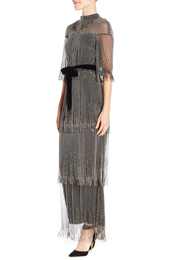 Embroidered Tiered Fringe Dress