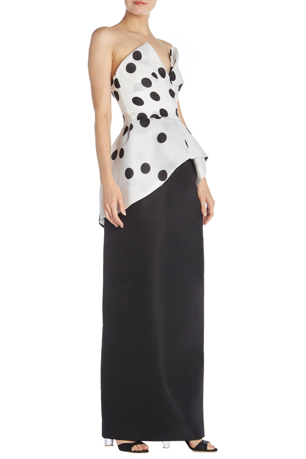 Strapless Polka Dot Peplum Top - moniquelhuillier