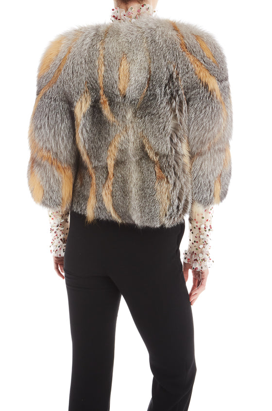 Grey Fox Fur Jacket
