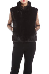 Mink fur vest with stand up collar
