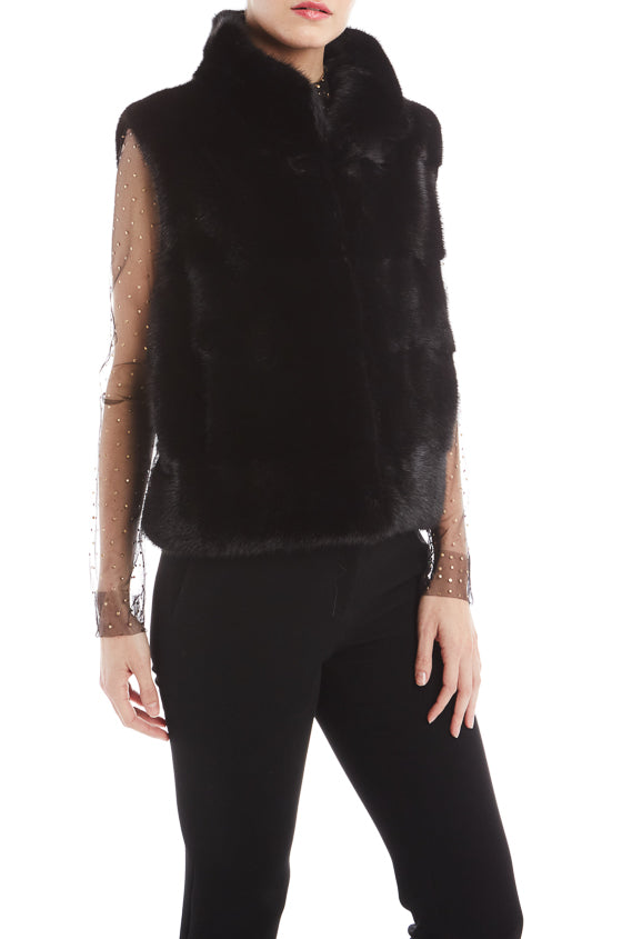 Monique Lhuillier Black Fur Vest