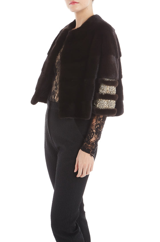 Monique Lhuillier Embroidered Fur Coat