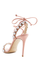 Rose Pink Pearl Suede Sandals