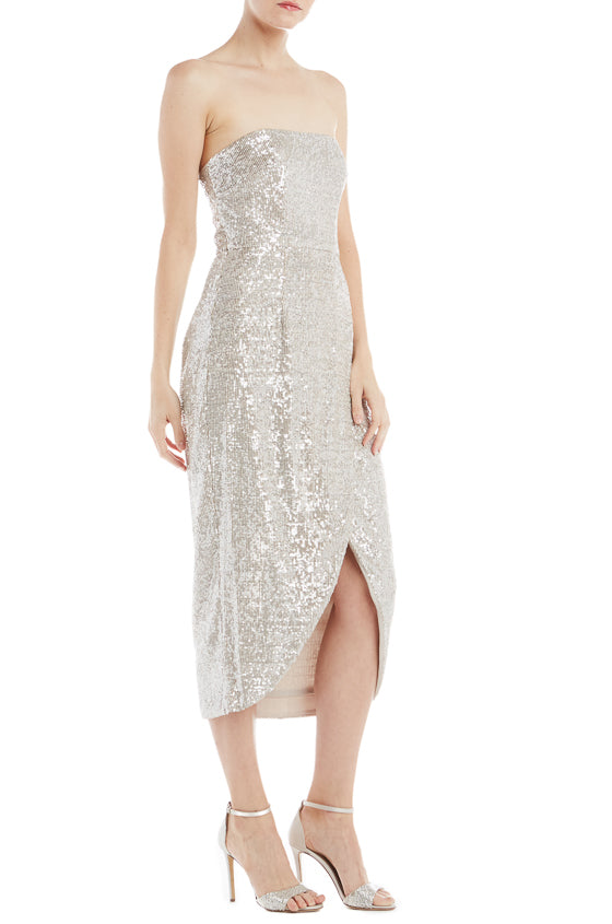 ML Monique Lhuillier Sequin Wrap Dress