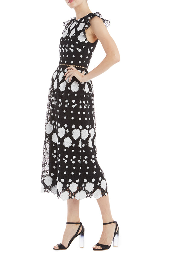 ML Monique Lhuillier Cap Sleeve Lace Dress