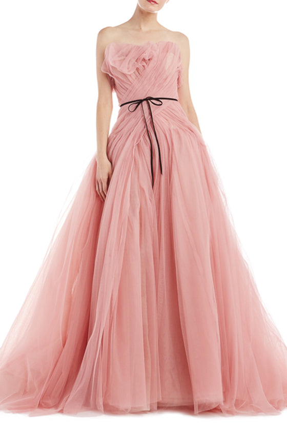 Strapless rose pink tulle ball gown ML