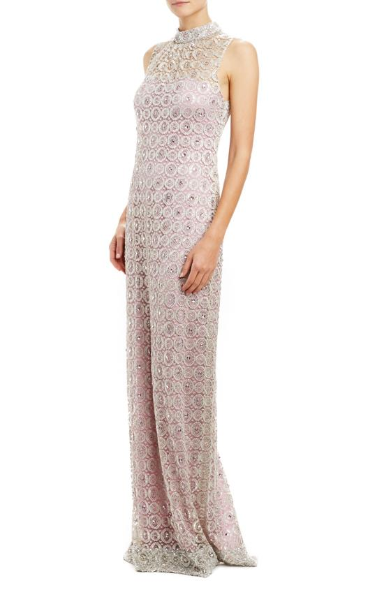 Spring 2020 Evening Gown with silver embroidered lace