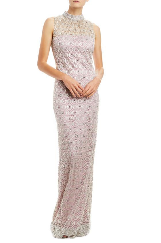 Monique Lhuillier lavender shift dress with silver embroidery