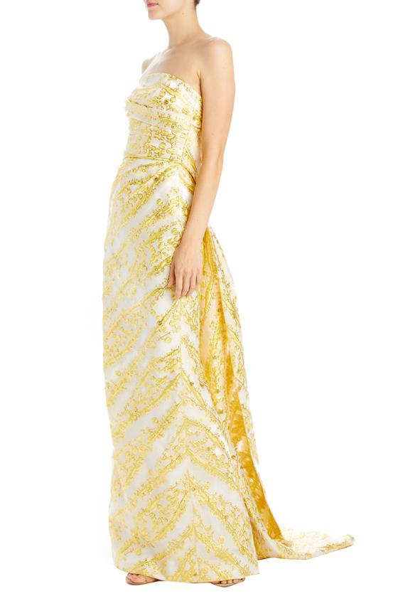 Monique lhuillier column gown yellow and gold