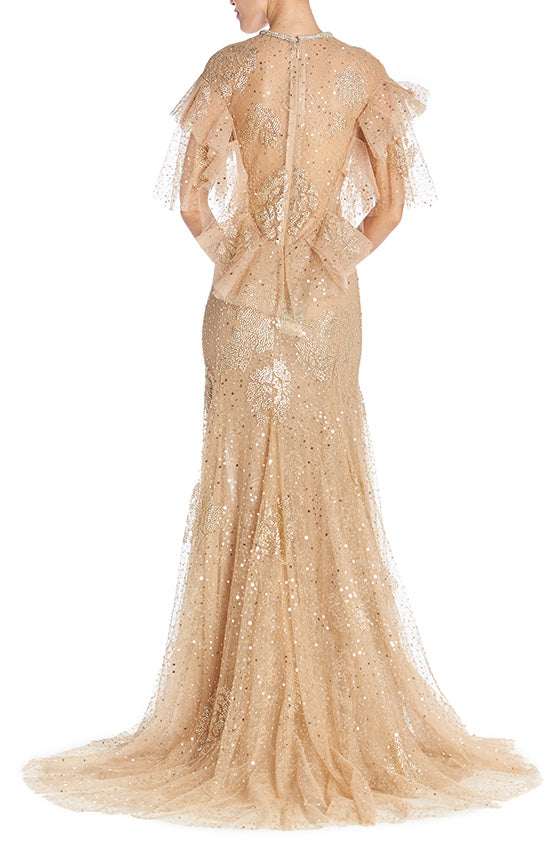 Embroidered Gold Gown-FINAL SALE
