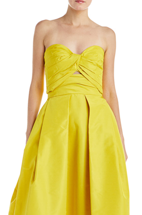 yellow pleated bandeau
