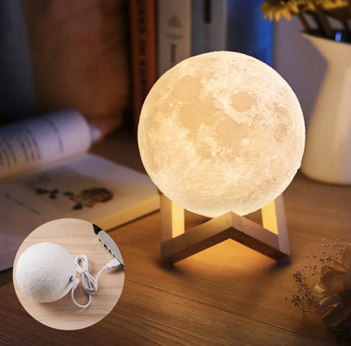 3D Printing Moon Lamp With Warm/Bright Light Rechargeable Lunar Lamp Cool Gift