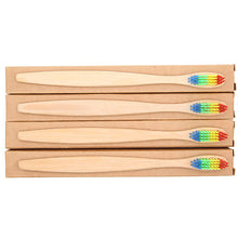 Load image into Gallery viewer, Free Natural Wooden Bamboo Toothbrush With Rainbow Soft Bristles