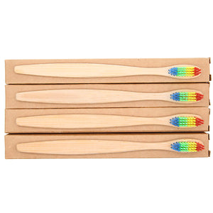 Free Natural Wooden Bamboo Toothbrush With Rainbow Soft Bristles