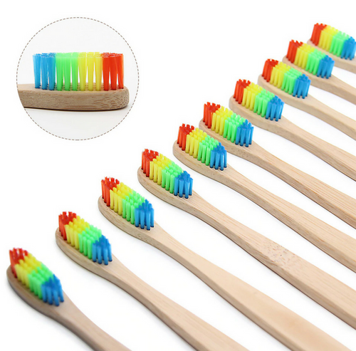 Natural Wooden Bamboo Toothbrush With Rainbow Soft Bristles