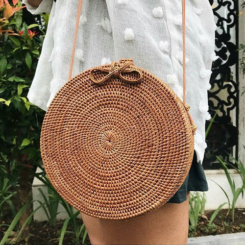 Woven Round Rattan Shoulder Bag With Leather Strap