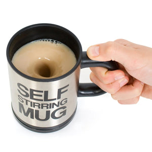 Self Stirring Mug For Coffee, Tea, Milk. Stainless Steel, Electric Automatic Mixing Your Drink- No Spoon Needed