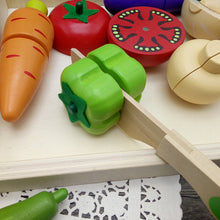 Load image into Gallery viewer, Wooden Cutting Cooking Food Toy Set For Kids Kitchen