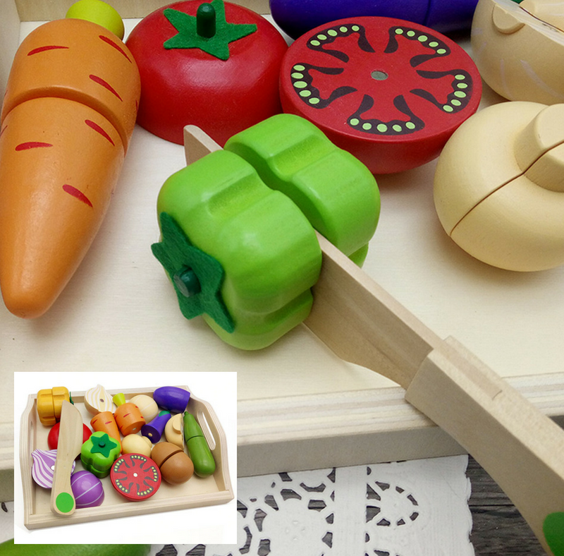 Wooden Cutting Cooking Food Toy Set For Kids Kitchen