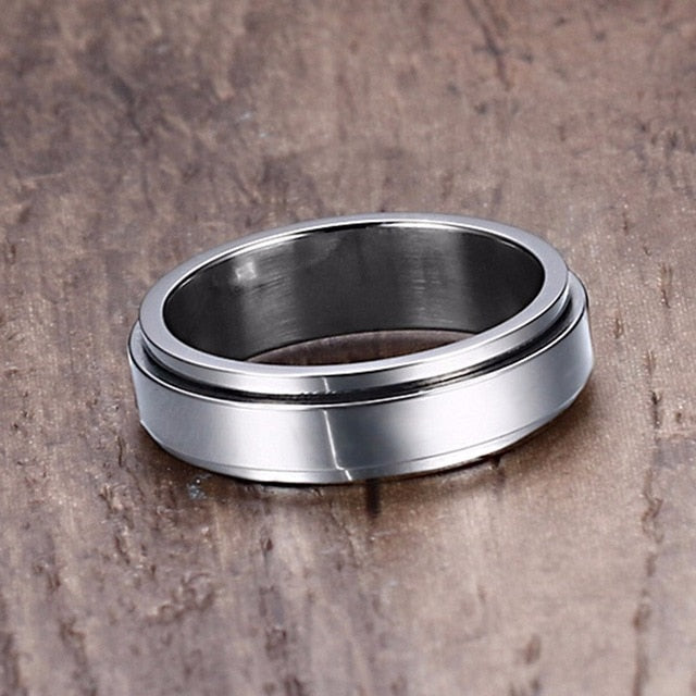 Men's Classic Stainless Steel Prong Setting Cocktail Spinner Ring-Men's Rings-Junaizo.com