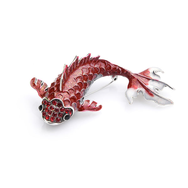 Unisex Trending Metal Rhinestone Big Red Carp Fish Brooch Pin-Animal Brooches-Junaizo.com