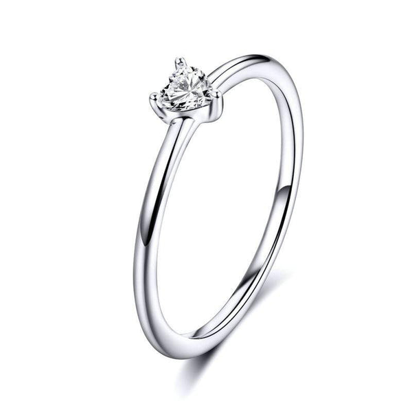 Women's 925 Sterling Silver Simple Clear CZ Heart Statement Ring-Silver Rings-Junaizo.com