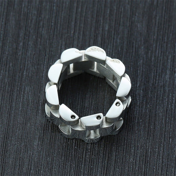 Men's Trending High Polished Stainless Steel Chunky Chain Ring-Men's Rings-Junaizo.com