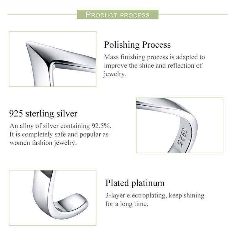 Women's 925 Sterling Silver Wave Geometric Love Adjustable Ring-Silver Rings-Junaizo.com