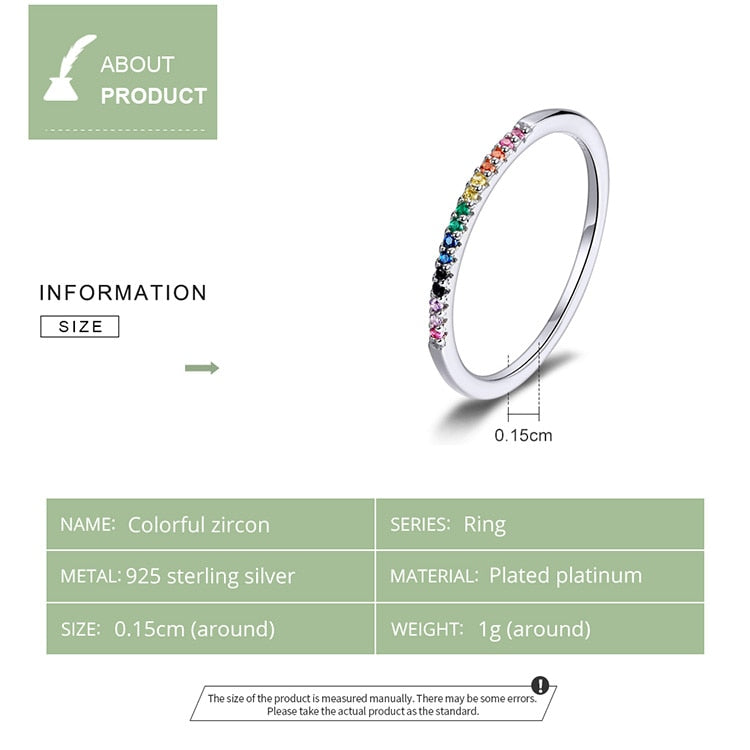 Women's Cute 925 Sterling Silver Rainbow Color CZ Statement Ring-Silver Rings-Junaizo.com