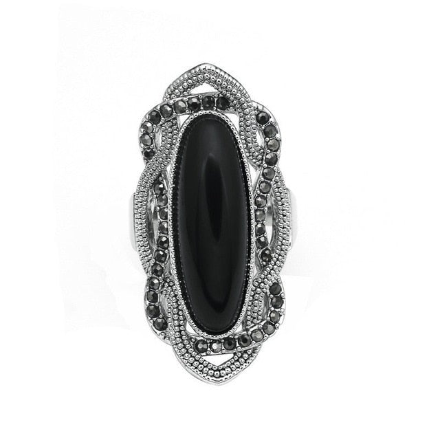 Women's New Bohemian Style Big Oval Silver Plated Cocktail Ring-Vintage Rings-Junaizo.com