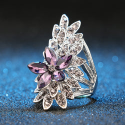 Women's Purple Glass Crystal Flower Silver Plated Cocktail Ring-Vintage Rings-Junaizo.com