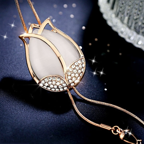 Women's New Elegant Opal Flower Tassel Long Pendant Necklace-Fashion Necklaces-Junaizo.com
