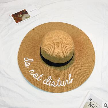 Women's Wide Brim Do Not Disturb Letter Embroidery Straw Sun Hat-Sun Hats-Junaizo.com