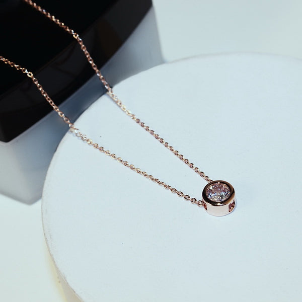 Women's New Rose Gold Plated Link Chain Long Pendant Necklace-Fashion Necklaces-Junaizo.com
