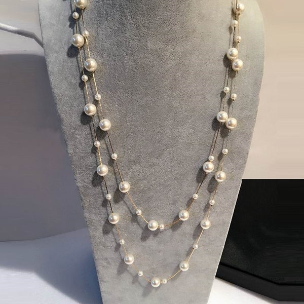 Women's White Simulated Pearl Multi Layer Long Pendant Necklace-Fashion Necklaces-Junaizo.com
