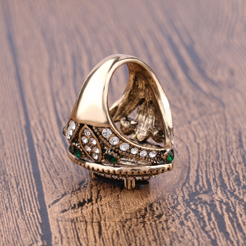 Women's Luxury Vintage Style Gold Color Mosaic Green Crystal Ring-Vintage Rings-Junaizo.com