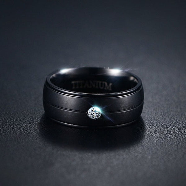 Men's Stylish Bezel Setting All Compatible CZ Stone Titanium Ring-Men's Rings-Junaizo.com