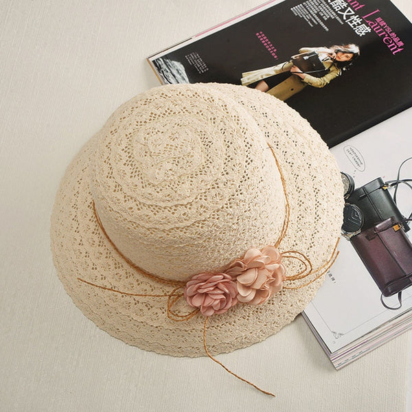 Women's Cute Handmade Garland Sunbonnet Roll Up Hem Sun Hat-Sun Hats-Junaizo.com