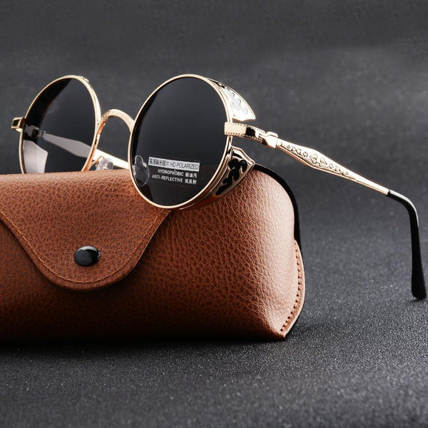 Unisex Stylish Round Shape Polarized Gothic Steampunk Sunglasses-Steampunk Sunglasses-Junaizo.com