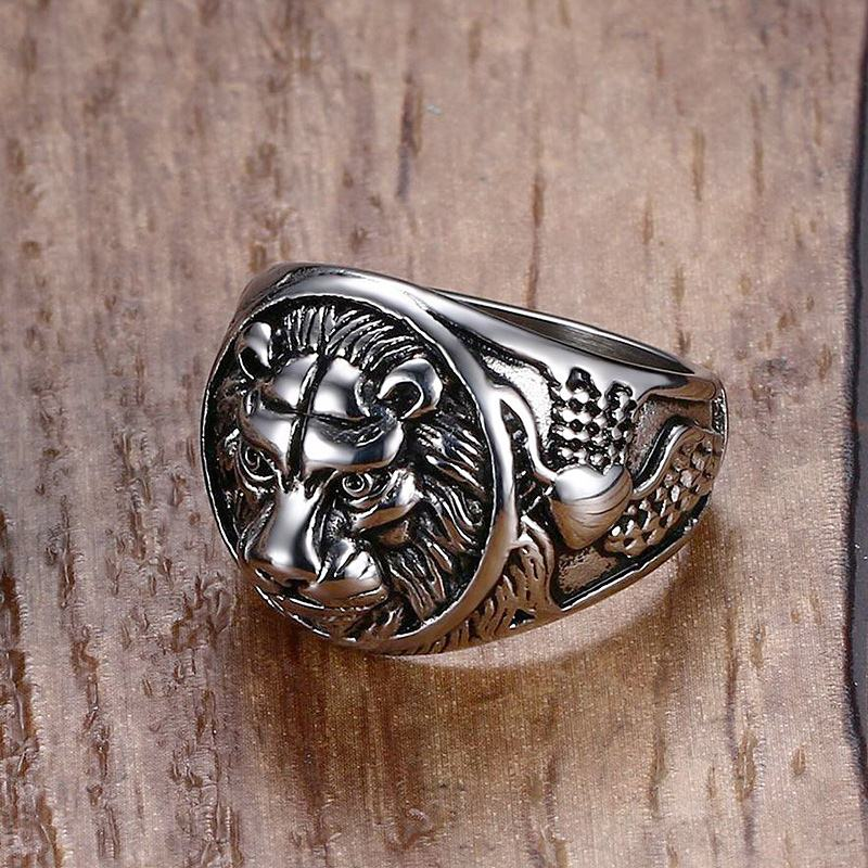Men's Unique Retro Style Animal Lion Stainless Steel Rock Biker Ring-Men's Rings-Junaizo.com